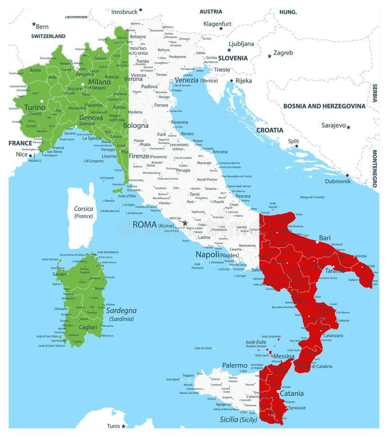 Italien-Vektorkarte gefärbt durch Staatsflagge lizenzfreie abbildung