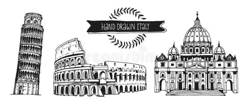 Italien-Vektorsatz, Hand gezeichnete Sammlung italienische Marksteine stock abbildung