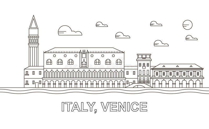 Italien Venedig arkitekturlinje horisontillustration Linjär vektorcityscape med berömda gränsmärken, stadssikt, designsymboler vektor illustrationer