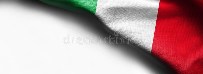 Italien vinkande flagga på vit bakgrund - höger bästa hörnflagga arkivfoton