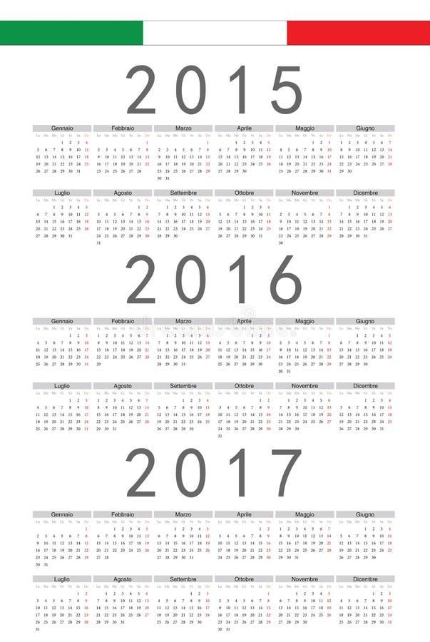 Italienare 2015, 2016, 2017 år vektorkalender royaltyfri illustrationer