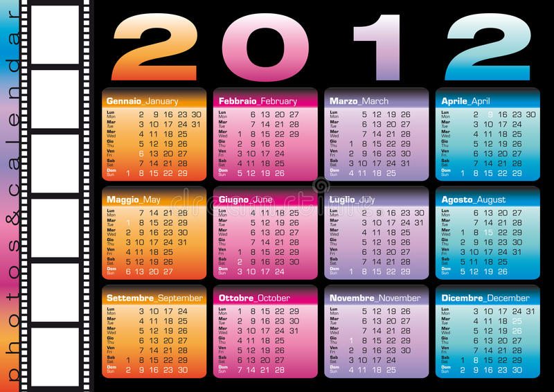 italienare för 2012 kalenderengelska stock illustrationer