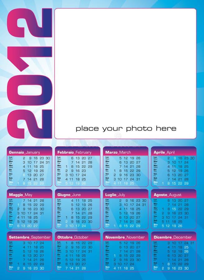italienare för 2012 kalenderengelska royaltyfri illustrationer
