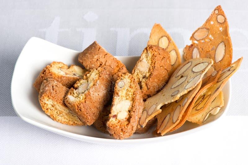 italienare för chip för mandelcantuccinikakor royaltyfri foto
