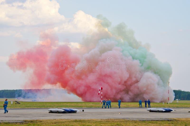 ItalienareFrecce Tricolori bildande på Radom Airshow, Polen arkivbild