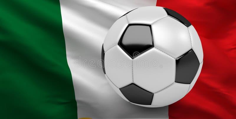 Italienische Flagge, Italien-Fußball, Fußball, 3D übertragen vektor abbildung