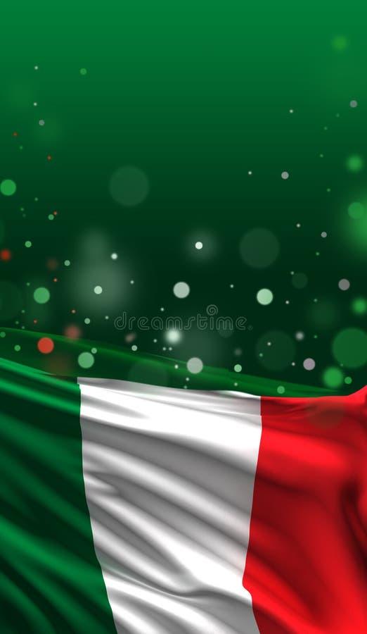 Italienische Flagge, nationale Farben 3D Italiens übertragen vektor abbildung
