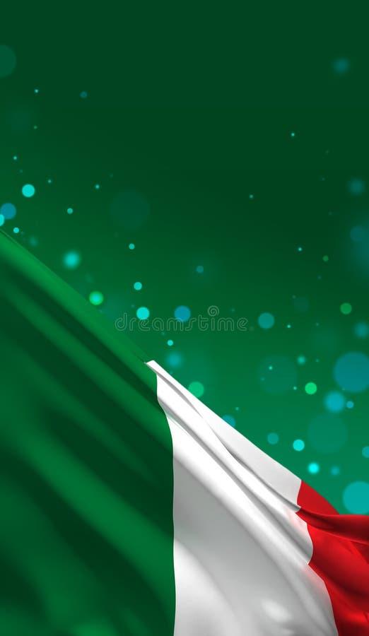 Italienische Flagge, nationale Farben 3D Italiens übertragen lizenzfreie abbildung