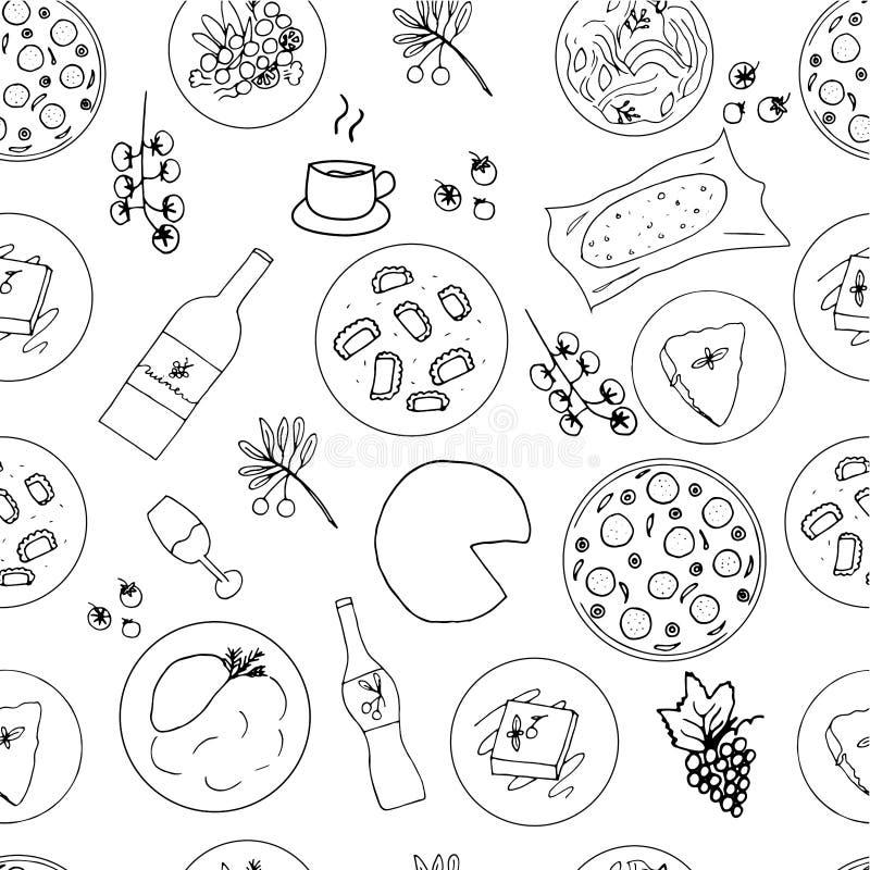 Italienische gezeichnetes nahtloses Muster des Lebensmittels Hand lizenzfreie abbildung