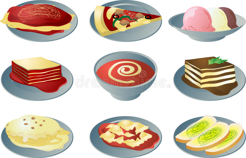 Italienische Kücheikonen lizenzfreie abbildung