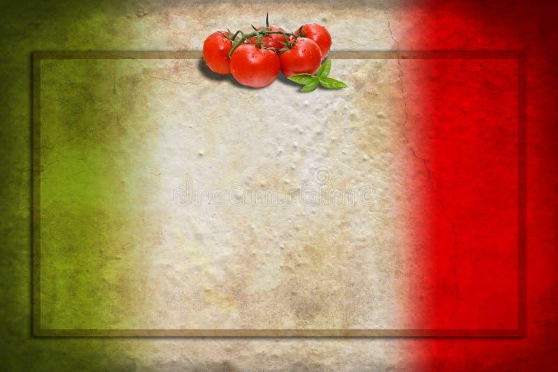 Italienische Markierungsfahne mit Tomaten und Feld stockbild