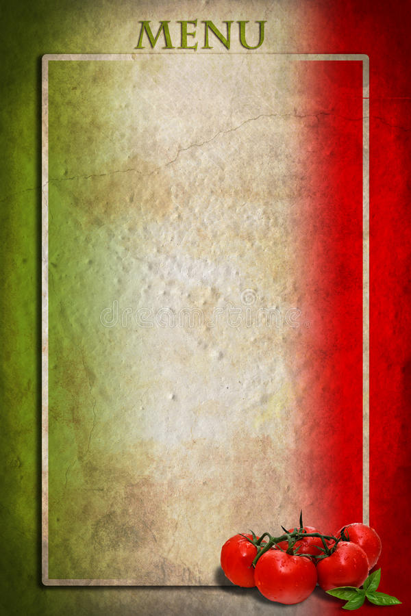 Italienische Markierungsfahne mit Tomaten und Feld lizenzfreie stockfotografie