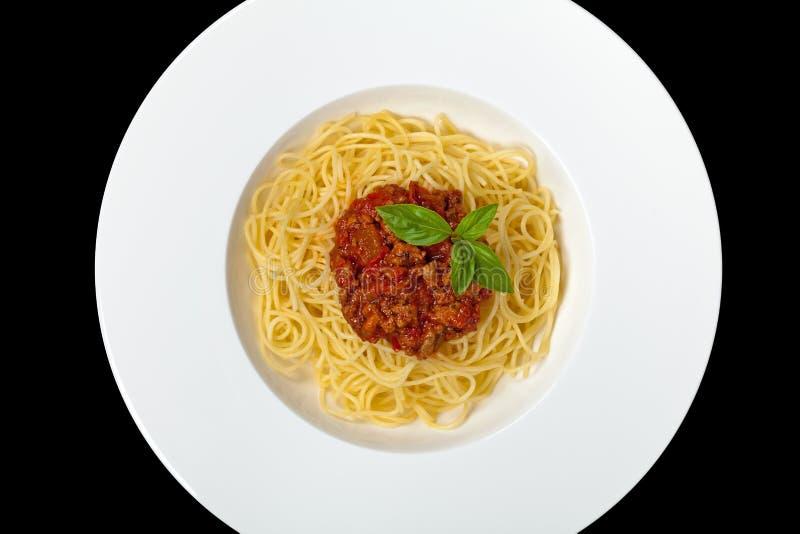 Italienische Nahrung Isolationsschlauch Bewohner von Bolognese stockfotografie