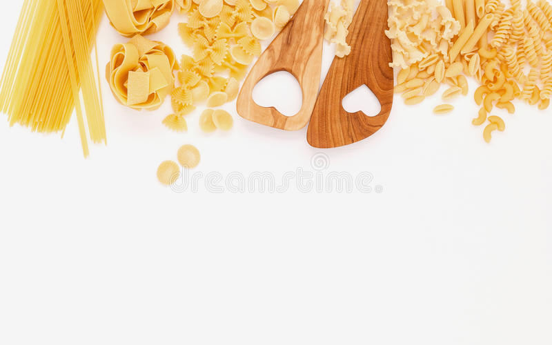 Italienische Nahrungsmittel Konzept und Menüdesign Verschiedene Art von Teigwaren weit lizenzfreies stockfoto