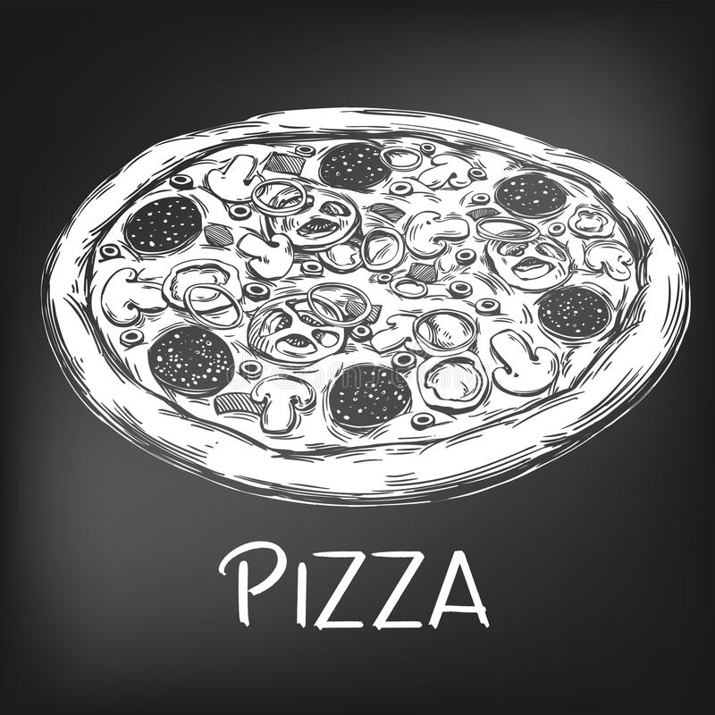 Italienische Pizza, gezeichnet in weiße Kreide auf einem schwarzen Hintergrund, Pizzadesignschablone, Logo, Hand gezeichnete Vekt vektor abbildung