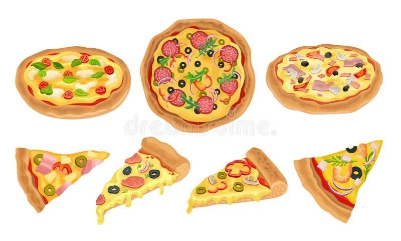 Italienische Pizza Vector Illustrated Set Farbenfrohes Restaurant Geschmackvoll isolierte Ernährung lizenzfreie abbildung