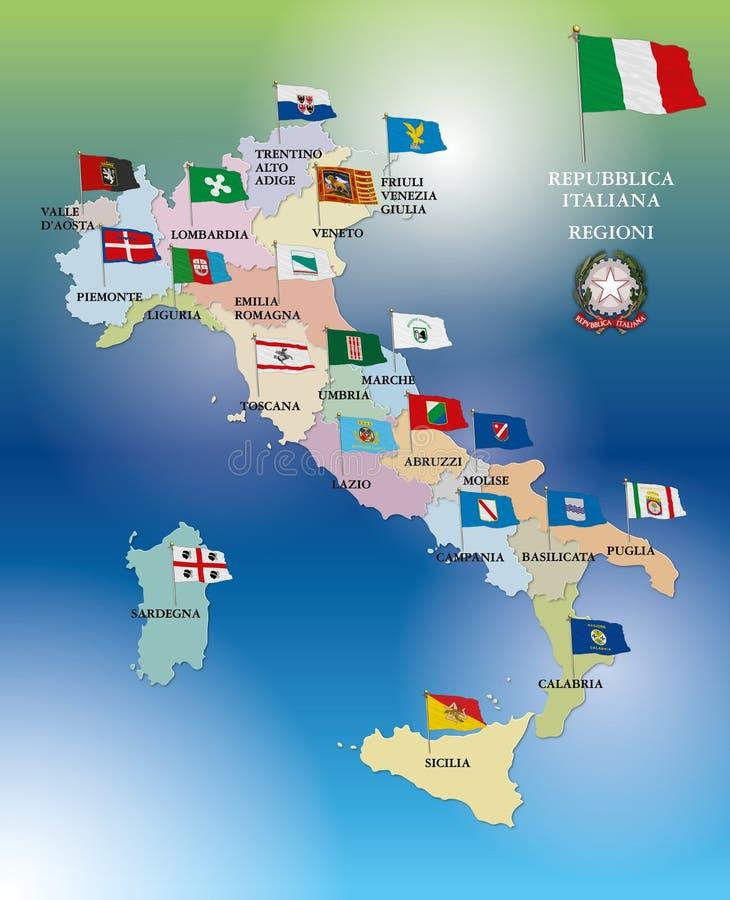 Italienische regionale Flaggen und Karte, Italien lizenzfreie abbildung