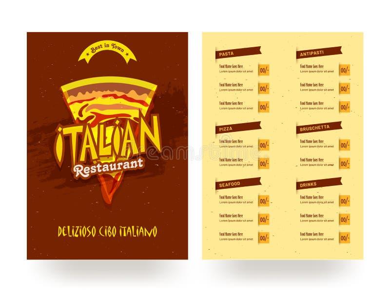 Italienische Restaurantmenü-Kartenschablone oder Fliegerdesign stock abbildung