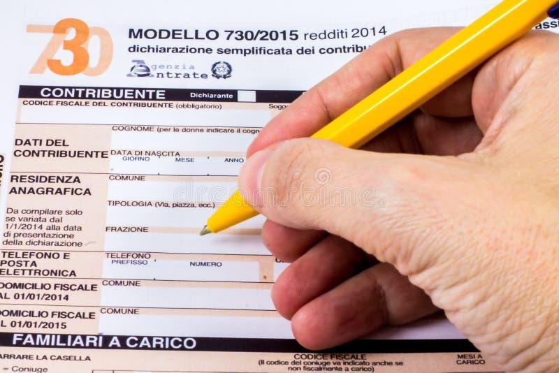 Italienische Steuererklärung genannt 730 lizenzfreies stockbild