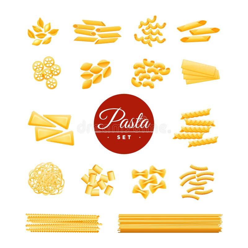 Italienische traditionelle Teigwaren-realistische Ikonen eingestellt lizenzfreie abbildung
