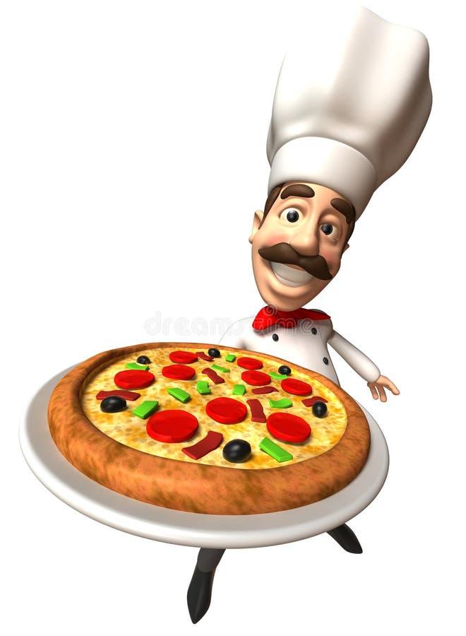 Italienischer Chef mit einer Pizza lizenzfreie abbildung
