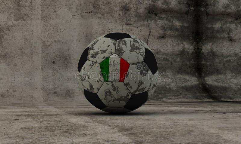 Italienischer Fußball gewaschener-oben Ball auf konkretem Hintergrund stock abbildung
