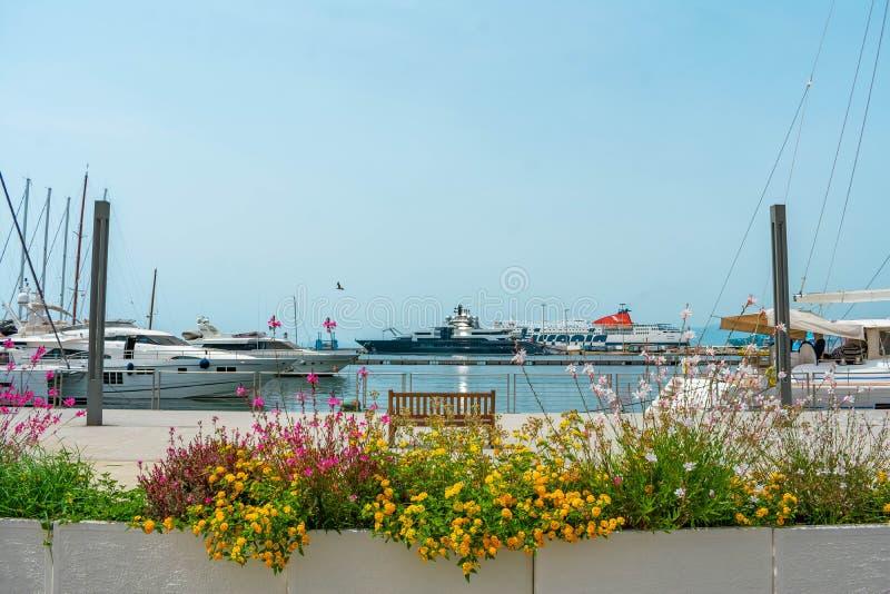 Italienischer Jachthafen mit Segelboot und Vögeln stockfotografie