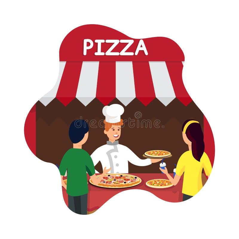 Italienischer Küche-Kiosk-flache Vektor-Illustration lizenzfreie abbildung