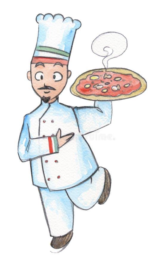 Italienischer koch mit pizza stock abbildung for Koch italienisch