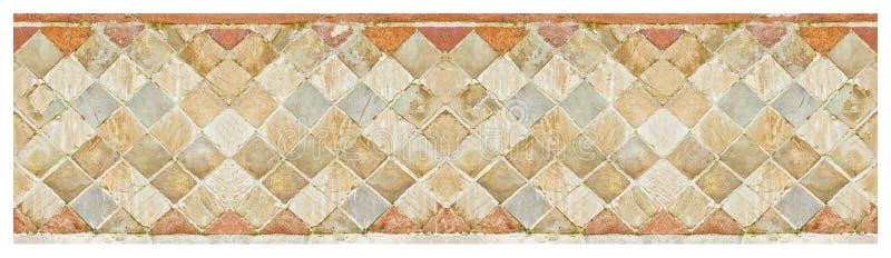 Italienischer mittelalterlicher Ziegelstein und Steinwand im lateinischen genannten - Opus incertum- mit Steinen und Ziegelsteine lizenzfreie stockfotos