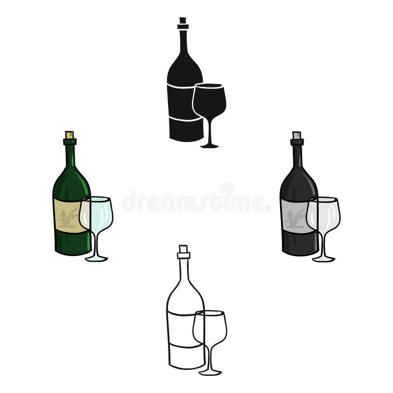 Italienischer Wein von Italien-Ikone in der Karikatur, schwarze Art lokalisiert auf weißem Hintergrund Italien-Landsymbol-Vorratv stock abbildung