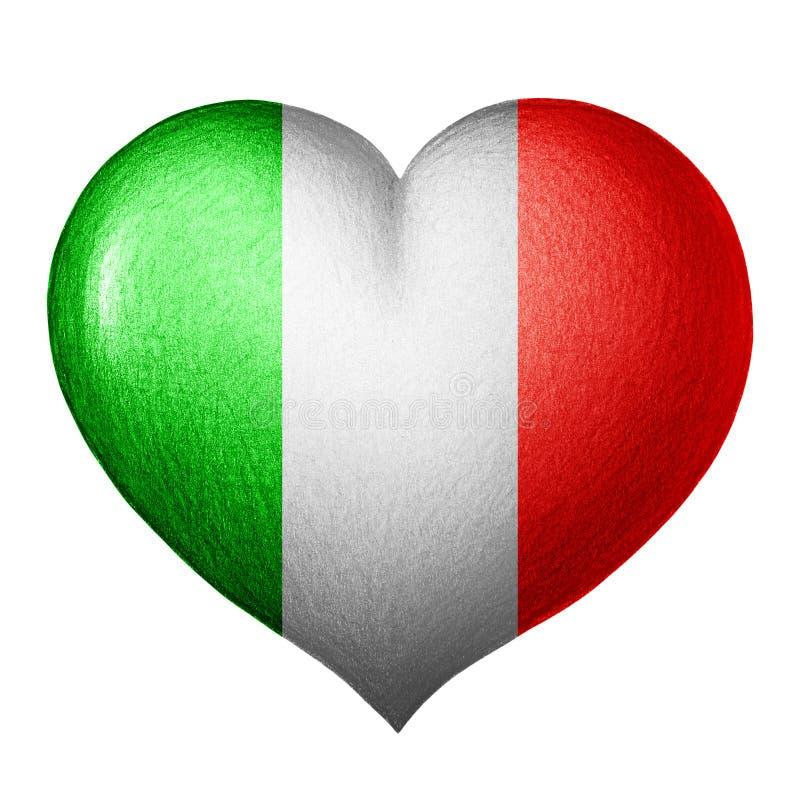Italienisches Flaggenherz Getrennt auf weißem Hintergrund lizenzfreies stockfoto