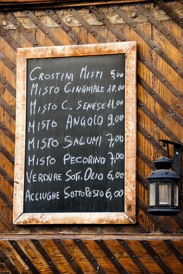 Italienisches Gaststättemenü stockfotografie