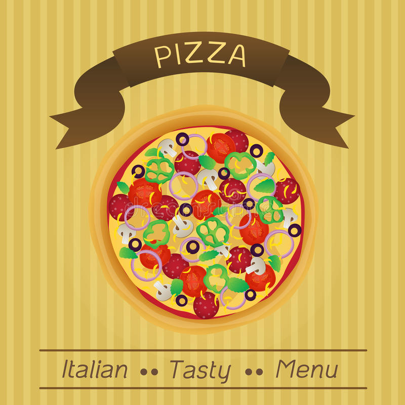 Italienisches geschmackvolles Pizza-Menü lizenzfreie abbildung