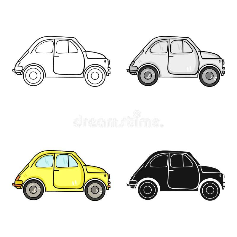 Italienisches Retro- Auto von Italien-Ikone in der Karikaturart lokalisiert auf weißem Hintergrund Italien-Landsymbol-Vorratvekto lizenzfreie abbildung