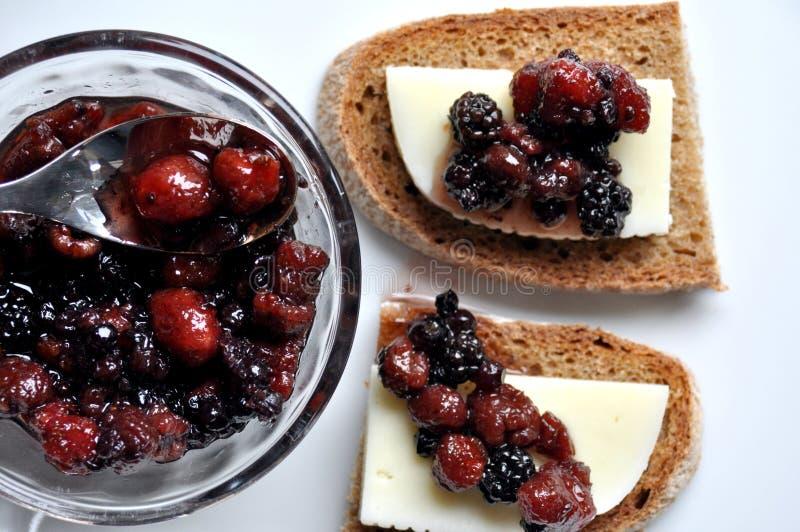 Italiensk aptitretare: ost- och fruktchutney royaltyfri foto