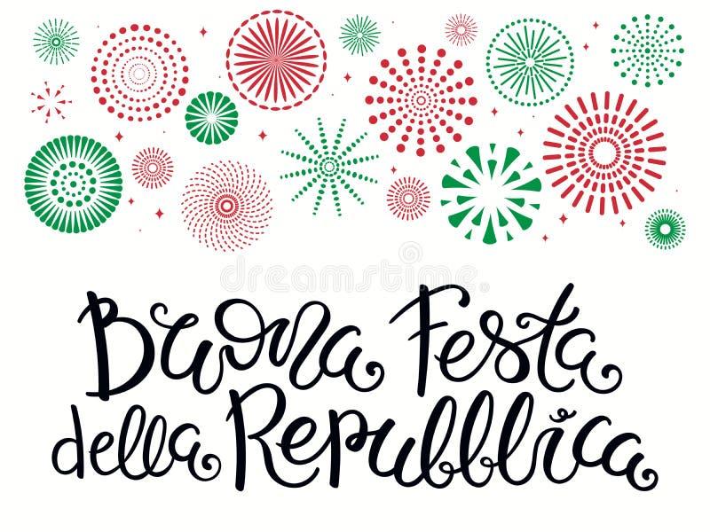 Italiensk bokstäver för republikdag med fyrverkerier stock illustrationer