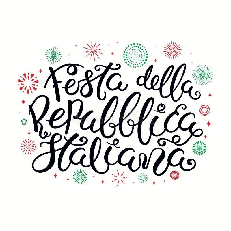 Italiensk bokstäver för republikdag med fyrverkerier royaltyfri illustrationer