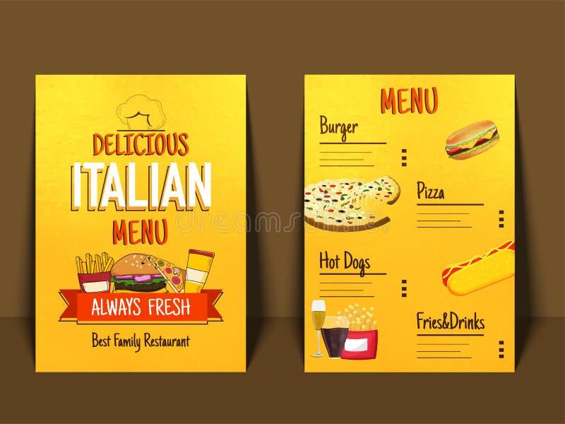 Italiensk broschyr för restaurang för menyplacematmat vektor illustrationer