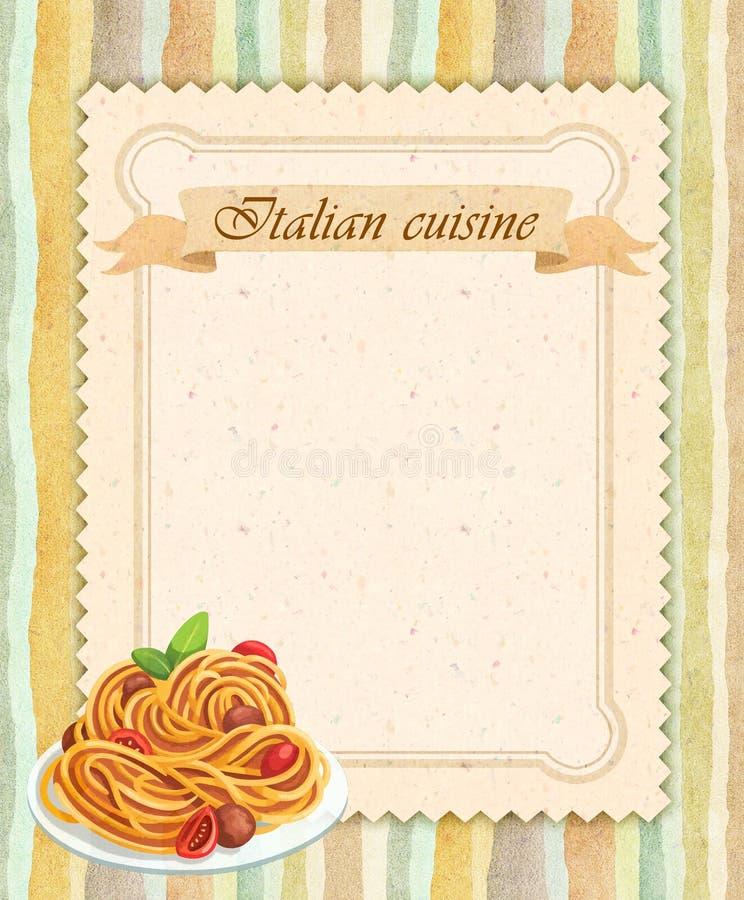 Italiensk design för kort för kokkonstrestaurangmeny i tappningstil royaltyfri illustrationer
