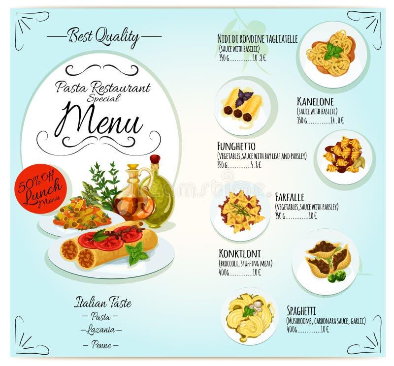 Italiensk design för mall för pastarestaurangmeny stock illustrationer