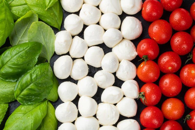 Italiensk flagga som göras med tomatmozzarellaen och basilika Begreppet av italiensk kokkonst arkivfoton