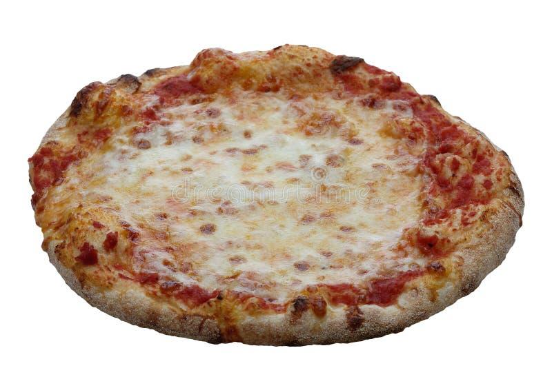 Italiensk hel pizzamargherita som isoleras på vit bakgrund arkivfoto