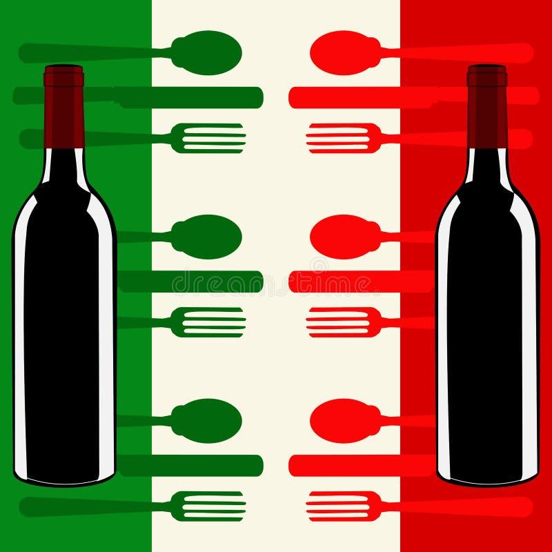 italiensk italy för flagga meny över mall stock illustrationer
