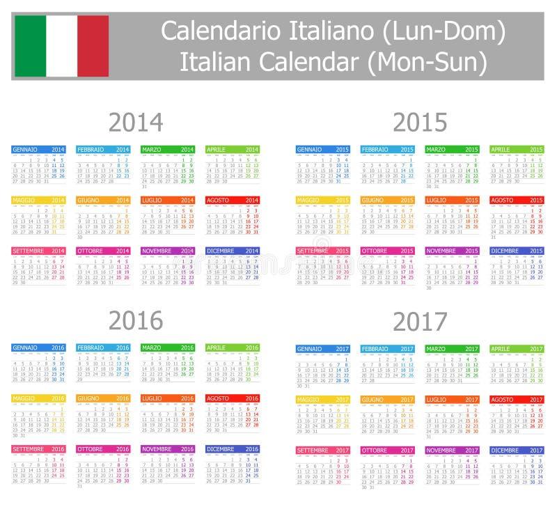 Italiensk kalender 2014-2017 för Typ-1 Måndag-Sun vektor illustrationer