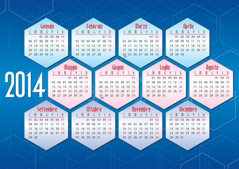 Italiensk kalender 2014 med geometriska former royaltyfri illustrationer