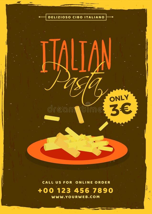 Italiensk mall för pastamenykort eller reklambladdesign vektor illustrationer