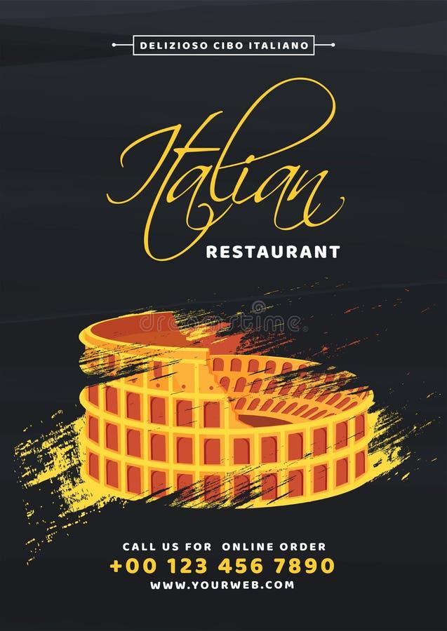 Italiensk mall för restaurangmenykort eller reklambladdesign vektor illustrationer