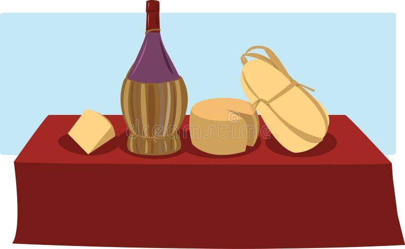 Italiensk mat & Wine vektor illustrationer