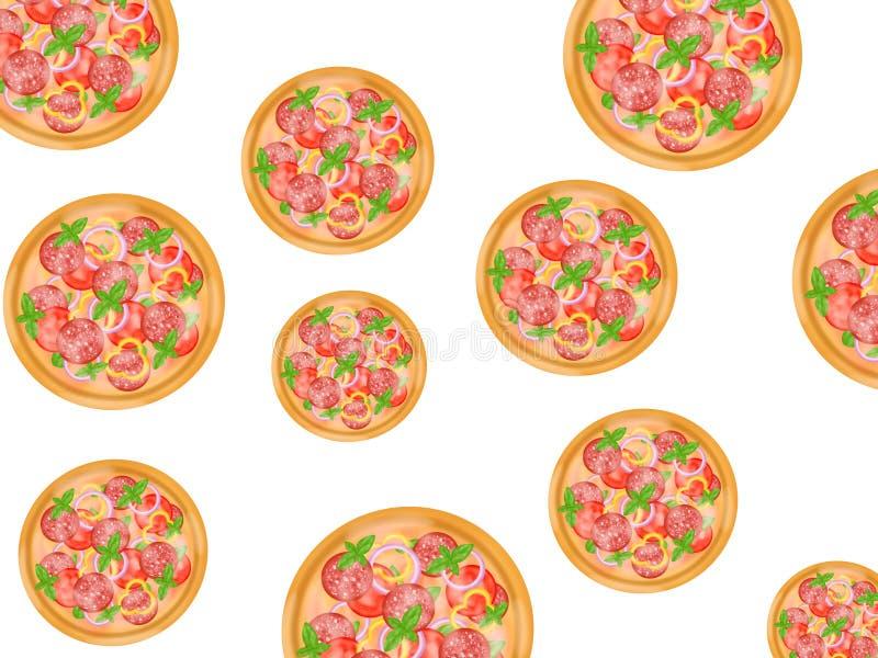 Italiensk matstil, bästa sikt av pizza som överträffar med salami, och blandade grönsaker som isoleras på vit bakgrund vektor illustrationer